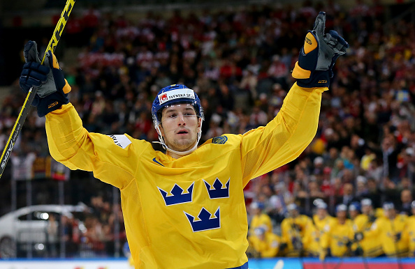 PRAGUE, CZECH REPUBLIC - MAY 03: Filip Forsberg of Sweden celebrates after scoring the opening goal during the IIHF World Championship group A match between Austria and Sweden at o2 Arena  on May 3, 2015 in Prague, Czech Republic.  (Photo by Martin Rose/Getty Images)