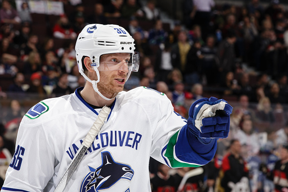 OTTAWA, ON - NOVEMBER 12: Jannik Hansen #36 of the Vancouver Canucks points to a player during an NHL game against the Ottawa Senators at Canadian Tire Centre on November 12, 2015 in Ottawa, Ontario, Canada.  (Photo by Jana Chytilova/Freestyle Photography/Getty Images) *** Local Caption *** Jannik Hansen