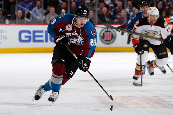 DENVER, CO - MARCH 09:  Mikkel Boedker #89 of the Colorado Avalanche controls the puck against the Anaheim Ducks at Pepsi Center on March 9, 2016 in Denver, Colorado. The Avalanche defeated the Ducks 3-0.  (Photo by Doug Pensinger/Getty Images)