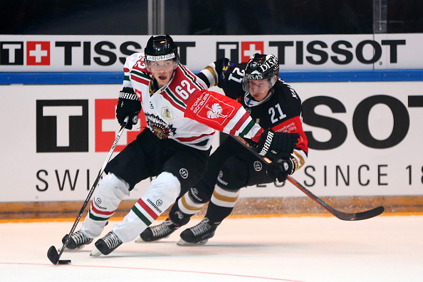 of Oulu and of Gothenburg battle for the puck during the Champions Hockey League final game between Karpat Oulu and Frolunda Gothenburg at Oulun Energia-Areena on February 9, 2016 in Oulu, Finland.