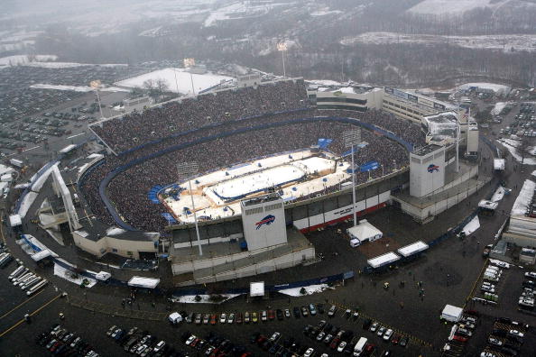 ORCHARD PARK, NY - JANUARY 01:  An aerial view of the Ralph Wilson Stadium as the Buffalo Sabres take on the Pittsburgh Penguins in the NHL Winter Classic on January 1, 2008 in Orchard Park, New York.  (Photo by Claus Andersen/Getty Images for NHLI)