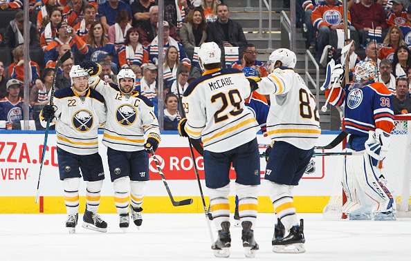 EDMONTON, AB - OCTOBER 16:  The Buffalo Sabres celebrate a goal against the Edmonton Oilers on October 16, 2016 at Rogers Place in Edmonton, Alberta, Canada. (Photo by Codie McLachlan/Getty Images)