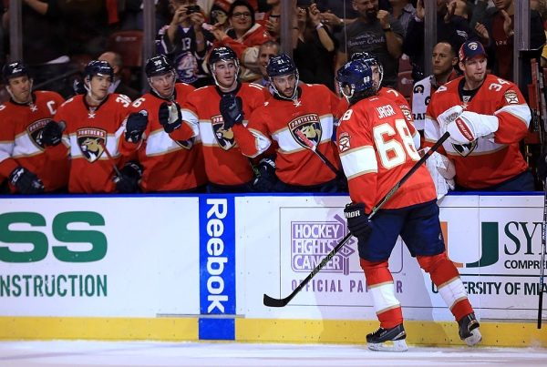 SUNRISE, FL - OCTOBER 20:  Jaromir Jagr #68 of the Florida Panthers celebrates a goal during a game against the Washington Capitals at BB&T Center on October 20, 2016 in Sunrise, Florida.  (Photo by Mike Ehrmann/Getty Images)