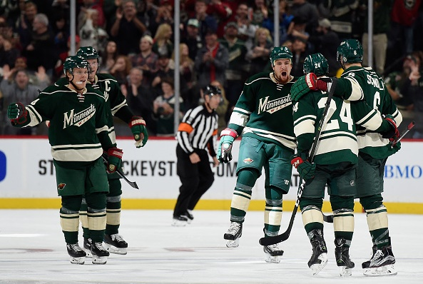 ST PAUL, MN - OCTOBER 15: The Minnesota Wild celebrate a goal by Matt Dumba #24 against Winnipeg Jets during the second period of the game on October 15, 2016 at Xcel Energy Center in St Paul, Minnesota. (Photo by Hannah Foslien/Getty Images)