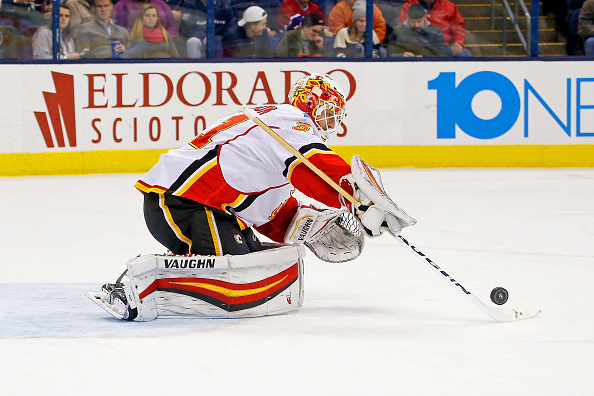 COLUMBUS, OH - NOVEMBER 23:  Chad Johnson #31 of the Calgary Flames makes a save during the second period of the game against the Columbus Blue Jackets on November 23, 2016 at Nationwide Arena in Columbus, Ohio. Johnson stopped 34 shots as Calgary defeated Columbus 2-0. (Photo by Kirk Irwin/Getty Images)