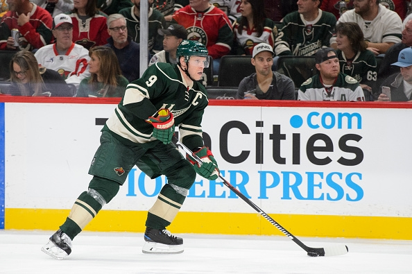 ST PAUL, MN - OCTOBER 15: Mikko Koivu #9 of the Minnesota Wild controls the puck against Winnipeg Jets during the game on October 15, 2016 at Xcel Energy Center in St Paul, Minnesota. (Photo by Hannah Foslien/Getty Images)