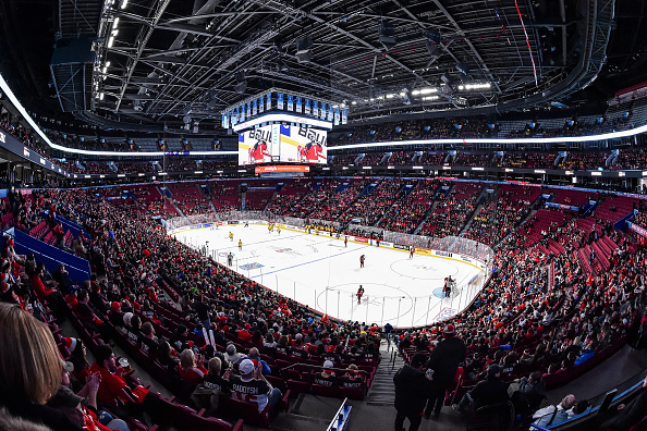 MONTREAL, QC - JANUARY 04:  General view during the 2017 IIHF World Junior Championship semifinal game between Team Canada and Team Sweden at the Bell Centre on January 4, 2017 in Montreal, Quebec, Canada.  (Photo by Minas Panagiotakis/Getty Images)
